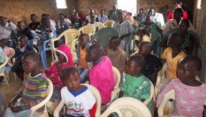 Children listening the Gospel at church