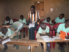 Children working hard in school