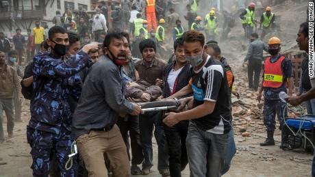 Rescue workers in Kathmandu, Nepal