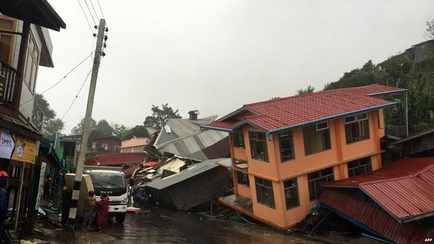 Apartment buildings in Chin state collapse due to landslide