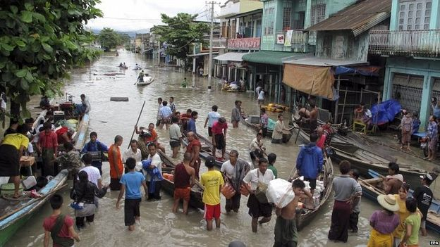 The rain began in mid-July and Burmese have been fleeing badly hit areas