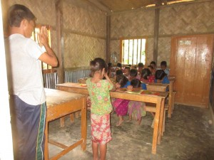 Teaching Class in Remote Village - Opening with Prayer