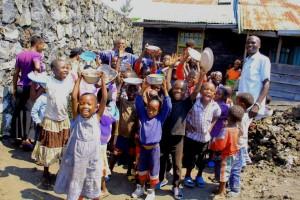 Orphan children receiving food