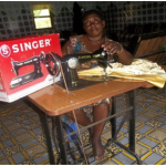 Widow with sewing machine
